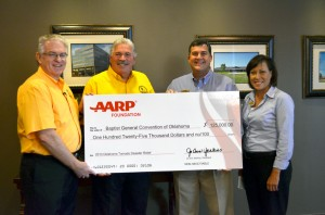 AARP of Oklahoma Donate $125,000 to Oklahoma Baptist Disaster Relief