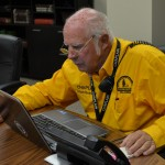 Stan Bradley, Bridge Creek, checks his list as he works to call out assessors after the March 25 tornadoes that hit Moore and Sand Springs (Photo: Bob Nigh)