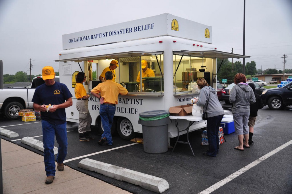 Oklahoma Baptist disaster relief volunteers serve meals on May 7-8 to victims and volunteer workers, at Snow Hill Baptist Church near Tuttle. (Photo: David Crowell)