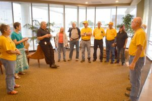 BGCO Disaster Relief director Sam Porter, third from left, meets with chaplains before they head to Fort McMurray, Alberta, May 25. (Photo: Chris Doyle)